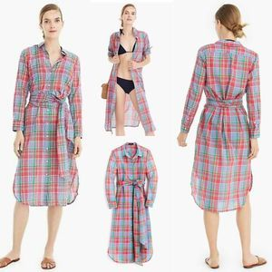 J Crew Long Lightweight Shirt Dress Retro Plaid XS